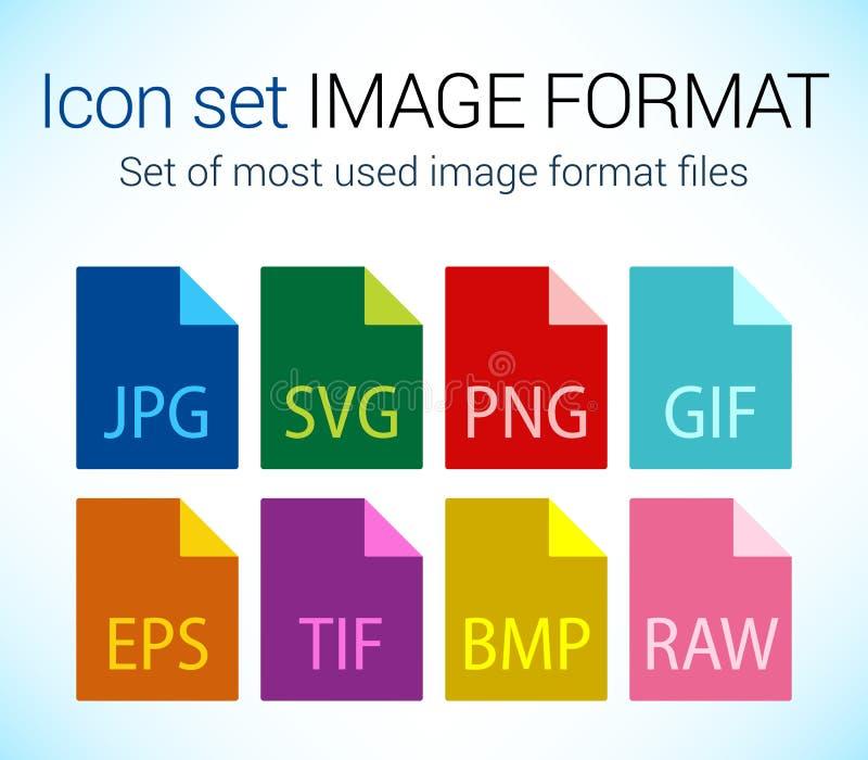 Sistema de tipo de archivo de imagen iconos ilustración del vector