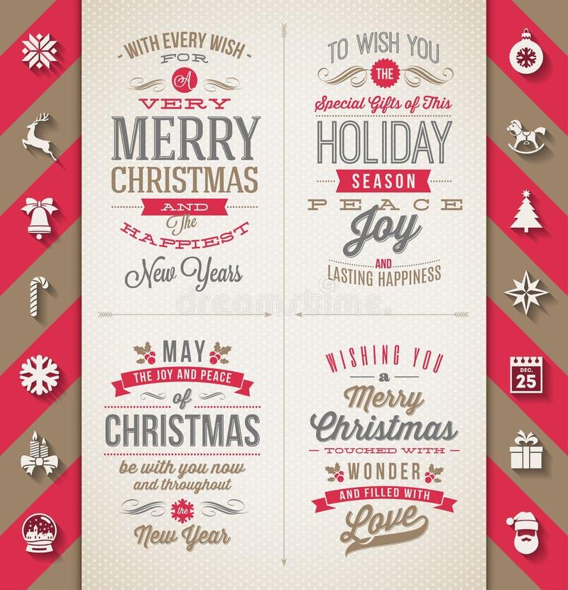Sistema de tipo diseños de la Navidad ilustración del vector