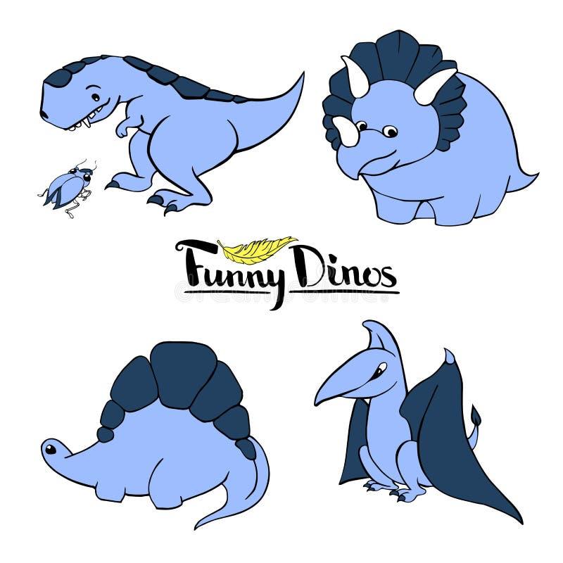 Sistema de tiranosaurio bueno divertido del dinosaurio de la historieta del ` s de cuatro niños, pterodáctilo, triceratops, stego ilustración del vector