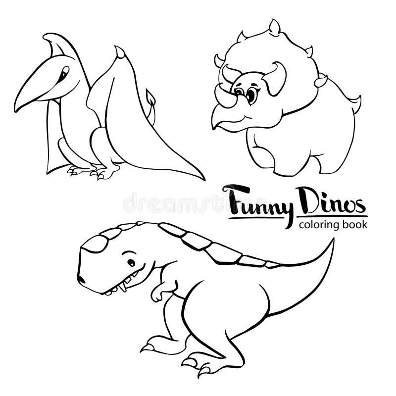 Sistema de tiranosaurio bueno divertido del dinosaurio de la historieta del ` s de tres niños, pterodáctilo, triceratops ilustración del vector