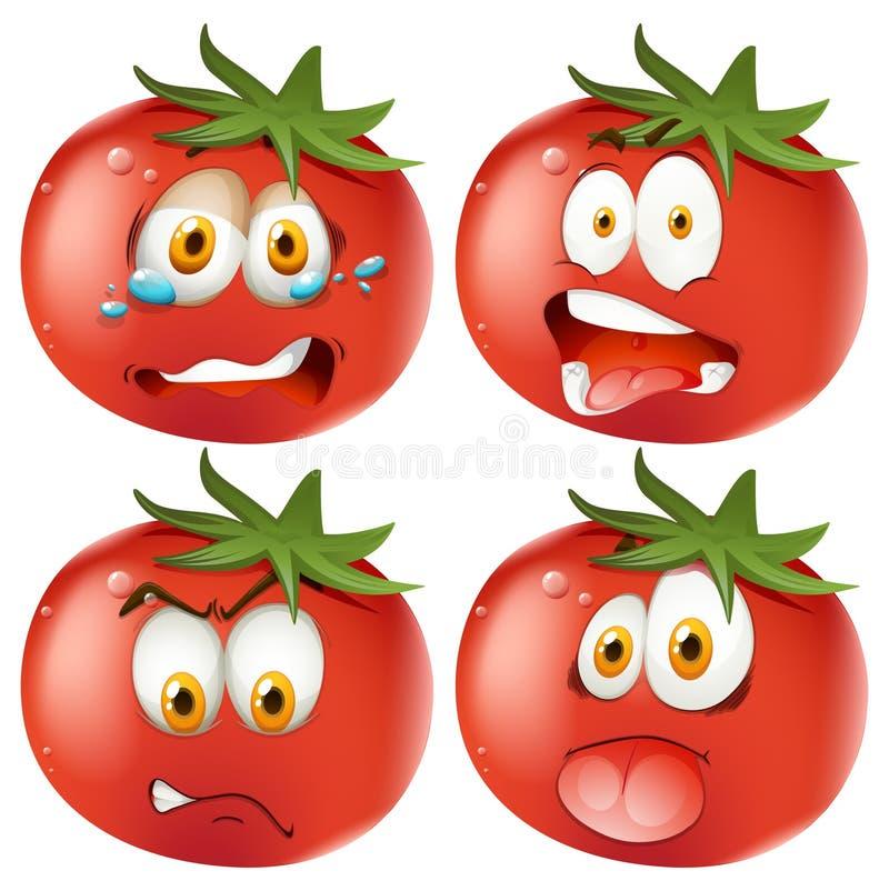Sistema de tomates del emoticon stock de ilustración