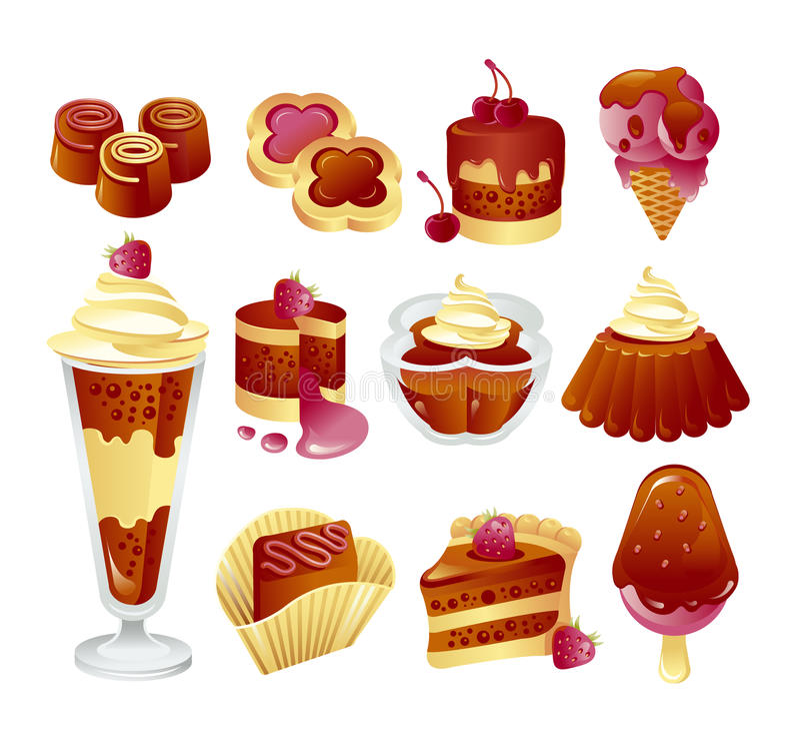 Sistema de tortas de chocolate stock de ilustración