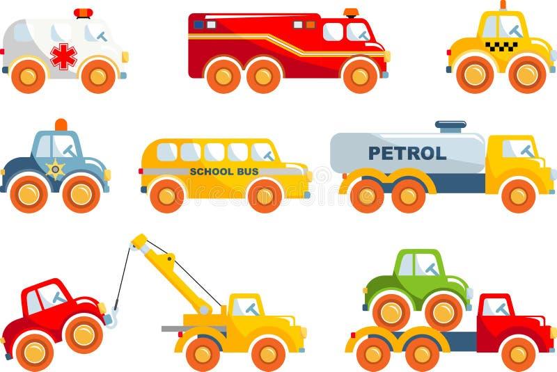 Sistema de transporte de los juguetes en un estilo plano fotos de archivo libres de regalías