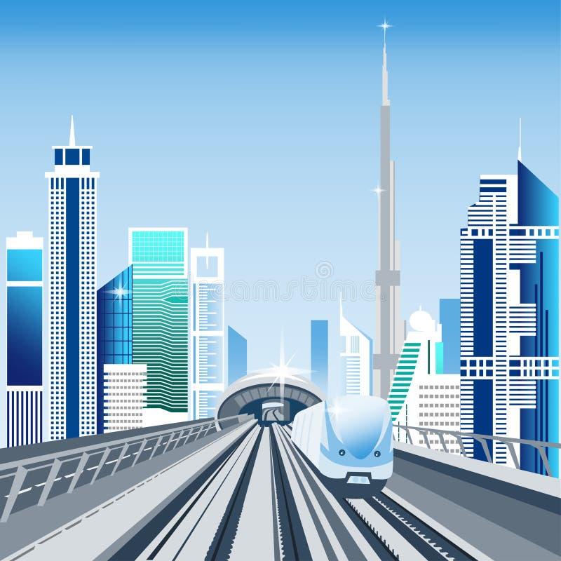 Sistema de transporte do metro de Dubai ilustração royalty free