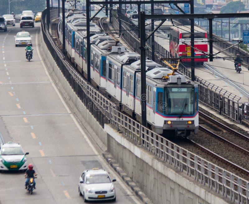 Sistema de transporte ligero de carril de Manila foto de archivo libre de regalías