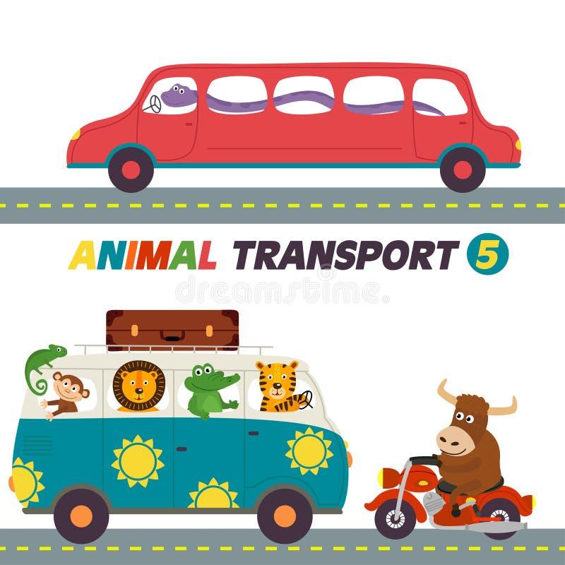 Sistema de transportes aislados con la parte 5 de los animales ilustración del vector