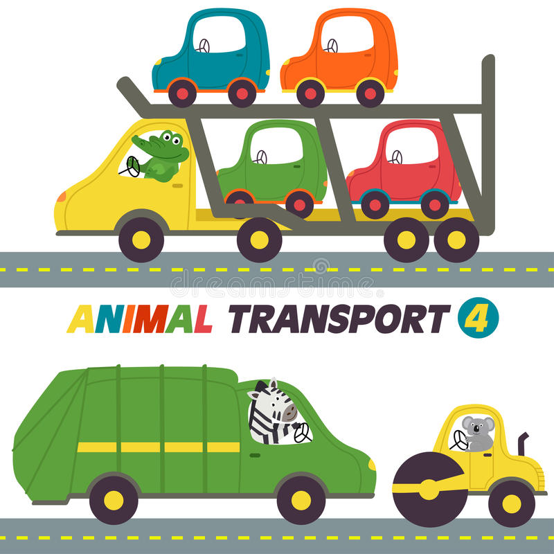 Sistema de transportes con la parte 4 de los animales libre illustration