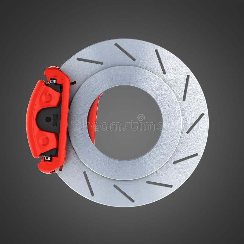 Sistema de travagem do automóvel Disco de freio de aço da peça do carro no fundo preto 3d ilustração royalty free