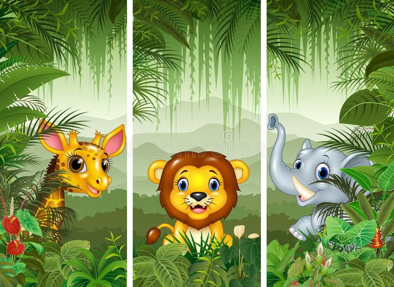 Sistema de tres animales africanos con el fondo tropical del bosque ilustración del vector
