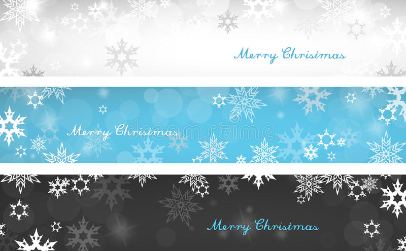 Sistema de tres banderas coloridas del fondo de la Navidad stock de ilustración