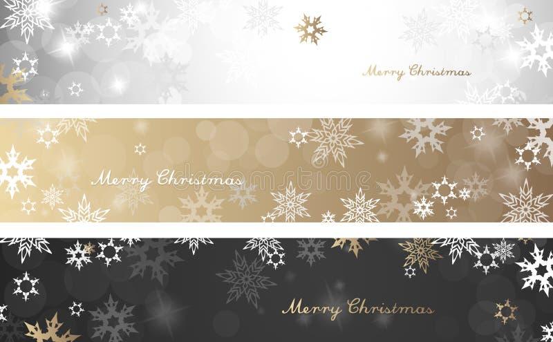 Sistema de tres banderas coloridas del fondo de la Navidad ilustración del vector