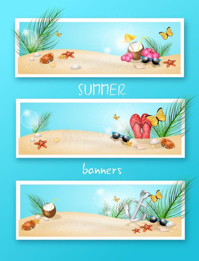 Sistema de tres banderas del verano stock de ilustración