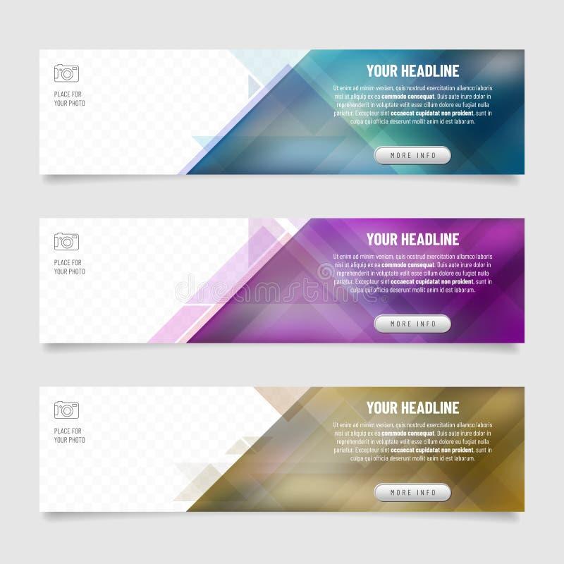 Sistema de tres banderas del web con el fondo abstracto del triángulo stock de ilustración