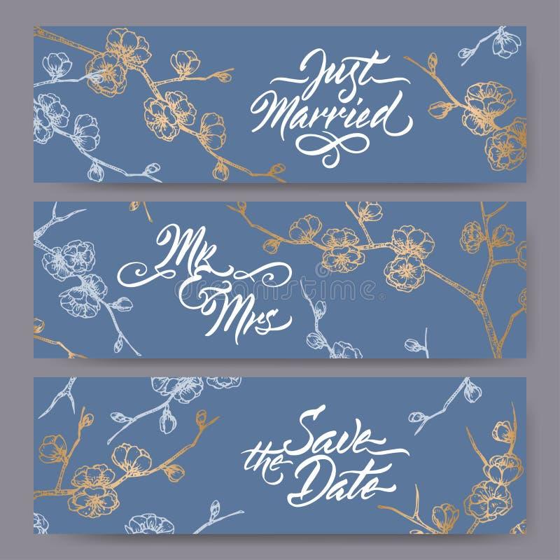 Sistema de tres banderas originales de la boda basadas en bosquejo floreciente de la rama del ciruelo en caligrafía del azul y de stock de ilustración