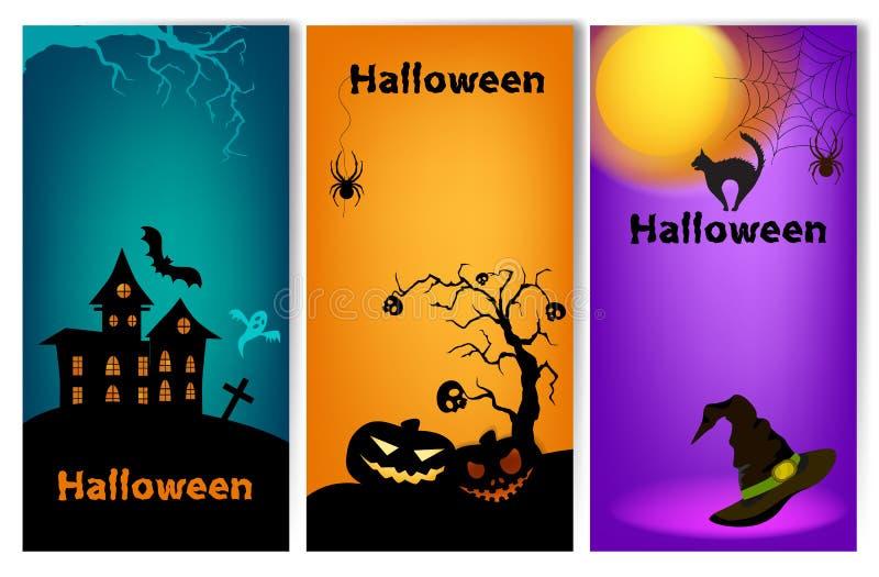 Sistema de tres banderas verticales de Halloween stock de ilustración