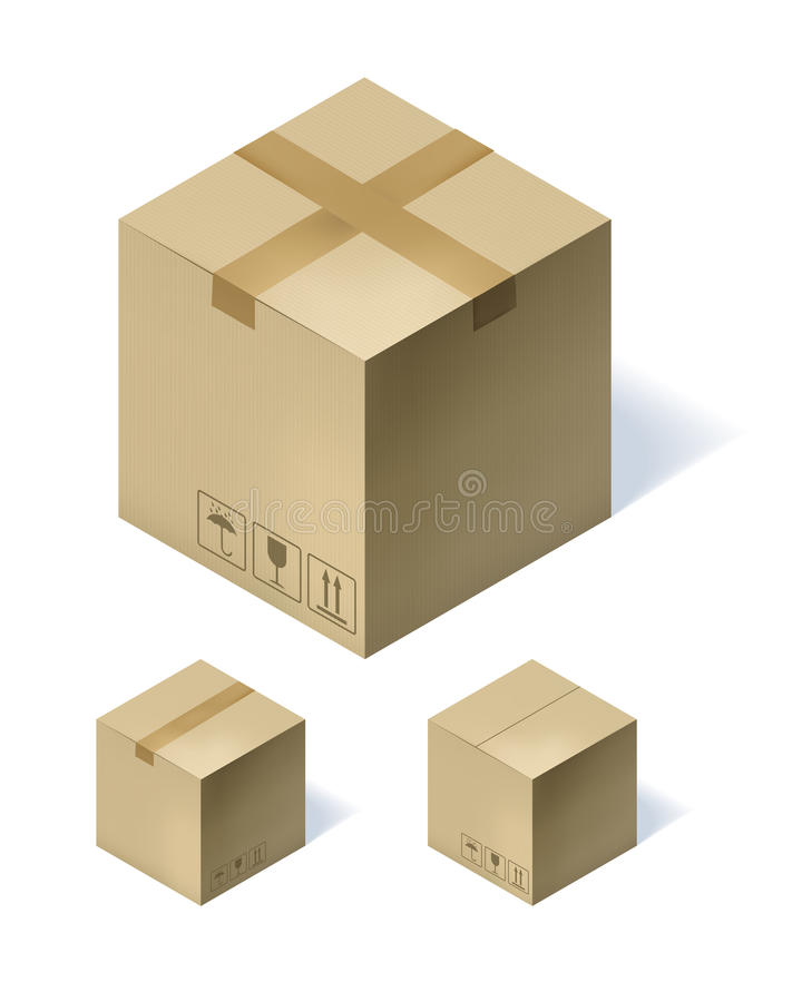 Sistema de tres cajas de cartón isométricas aisladas en el fondo blanco Ilustración del vector stock de ilustración