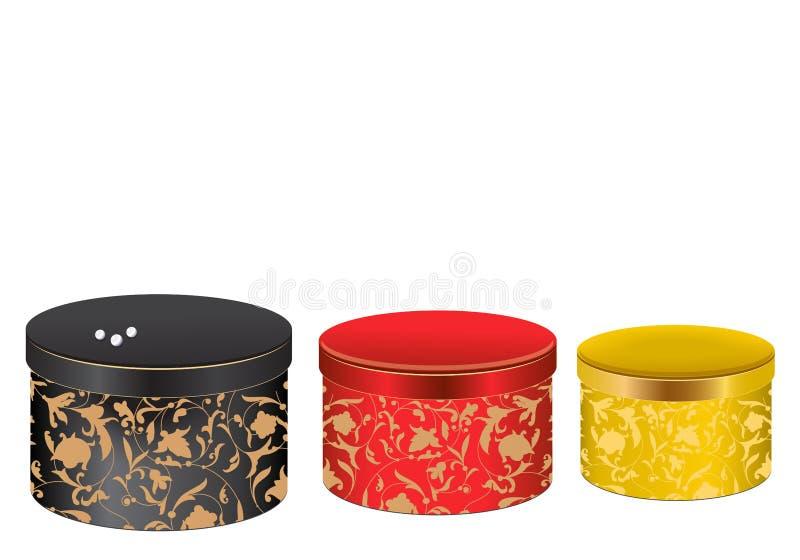 Sistema de tres cajas de regalo pintadas coloridas ilustración del vector