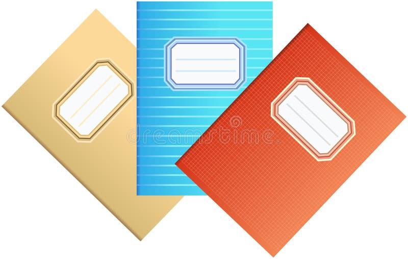 Sistema de tres cuadernos coloreados de la escuela stock de ilustración