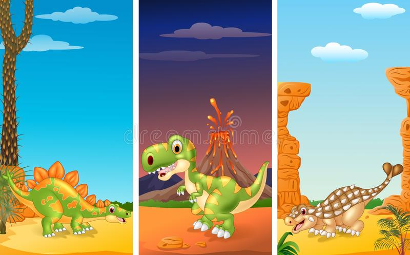 Sistema de tres dinosaurios libre illustration