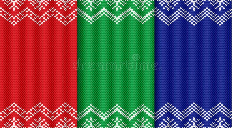 Sistema de tres fondos hechos punto de la Navidad Ornamento geométrico inconsútil stock de ilustración