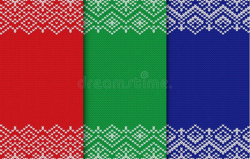 Sistema de tres fondos hechos punto de la Navidad Ornamento geométrico inconsútil de diversos colores libre illustration