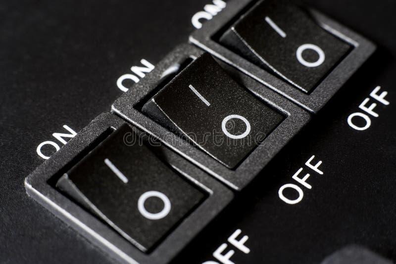 Sistema de tres 3 interruptores imágenes de archivo libres de regalías