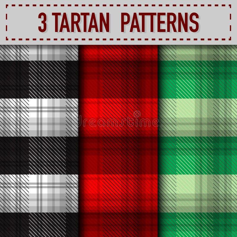 Sistema de tres muestras de la tela escocesa de tartán en vector ilustración del vector