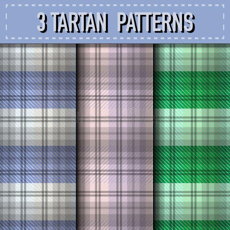 Sistema de tres muestras de la tela escocesa de tartán en vector libre illustration