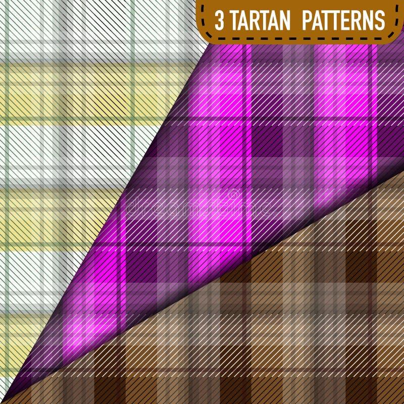 Sistema de tres muestras de la tela escocesa de tartán en vector stock de ilustración