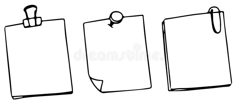 Sistema de tres notas en blanco de los posts ilustración del vector
