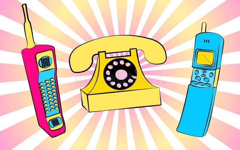 Sistema de tres primeros teléfonos móviles amarillos viejos del vintage del inconformista del cuadrado retro retro azul y azul de ilustración del vector