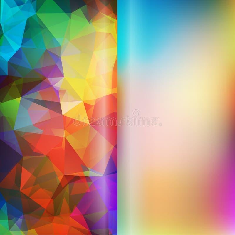 Sistema de triángulos abstractos del polígono y de fondos lisos borrosos ilustración del vector