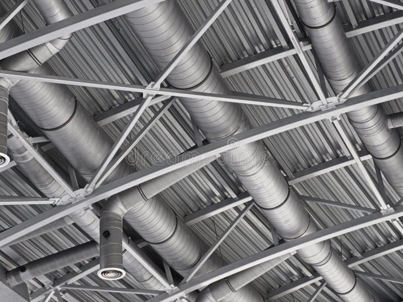 Sistema de tubos de la ventilación del aire del conducto de la HVAC imagen de archivo