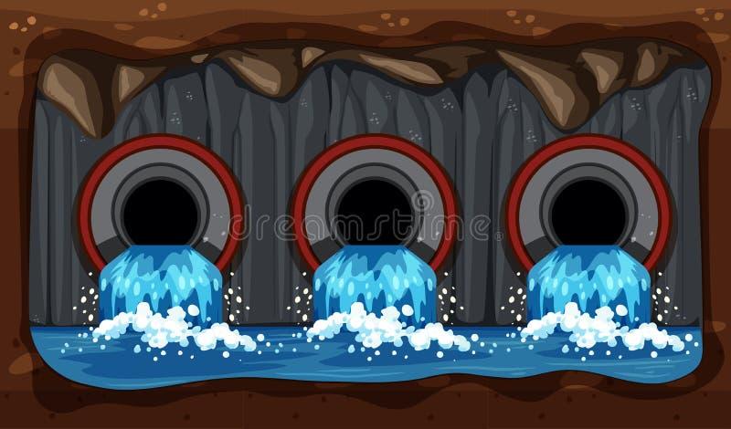 Sistema de tubulação do esgoto da água subterrânea ilustração do vetor
