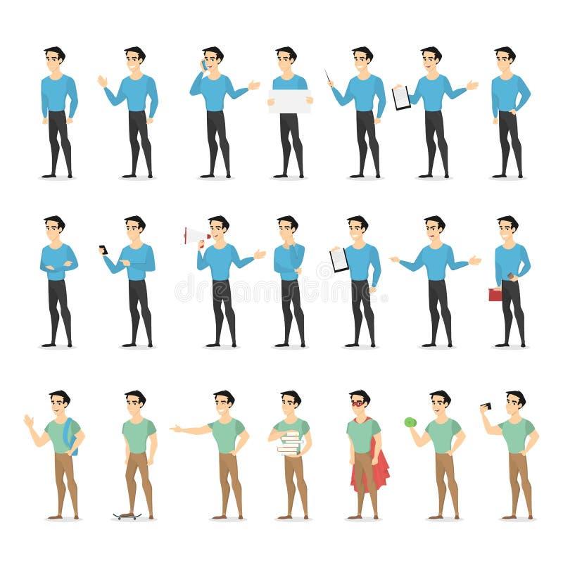 Sistema de un carácter del hombre con diversos emociones y gestos de la cara stock de ilustración