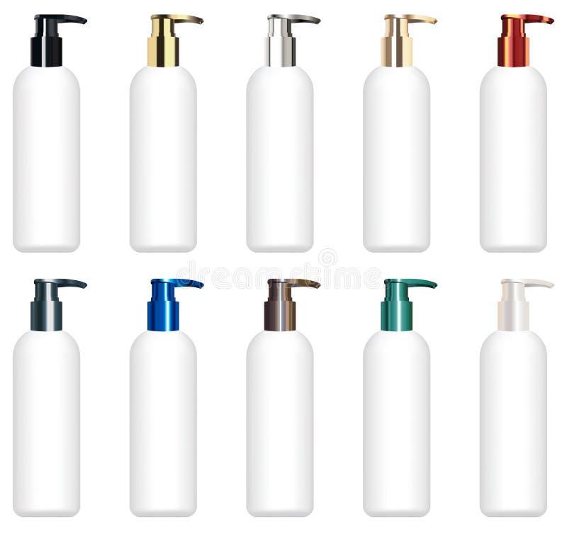 Sistema de un vector cosmético colorido real del tubo ilustración del vector