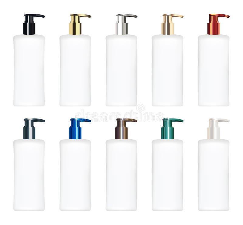 Sistema de un vector cosmético colorido real del tubo stock de ilustración
