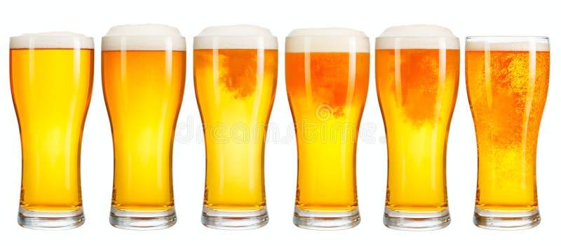 Sistema de un vidrio de cerveza ligera fría con la espuma aislada en el fondo blanco foto de archivo