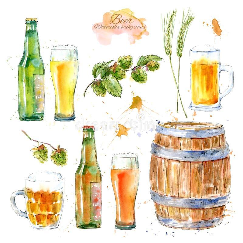 Sistema de un vidrio de una cerveza, de una botella, de una cebada, de una malta y de saltos Imagen de una bebida alcohólica ilustración del vector