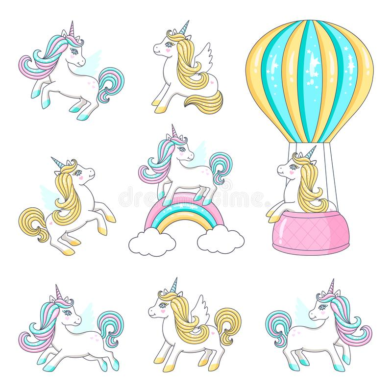 Sistema de unicornios lindos stock de ilustración