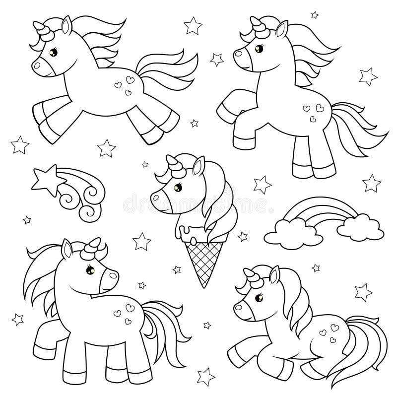Sistema de unicornios lindos de la historieta Ejemplo blanco y negro del vector para el libro de colorear ilustración del vector