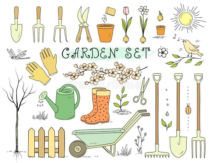 Sistema de utensilios de jardinería colorido de la primavera ilustración del vector