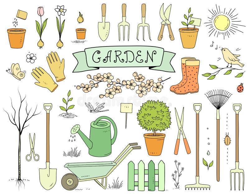 Sistema de utensilios de jardinería dibujado mano colorida ilustración del vector