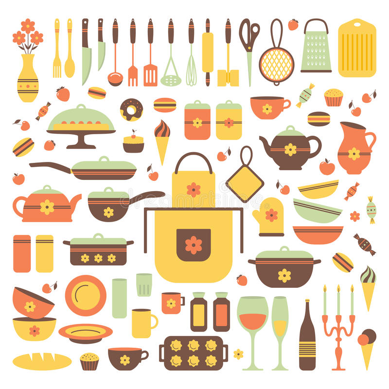 Sistema de utensilios y de comida de la cocina ilustraci n for Utensilios de cocina casa joven