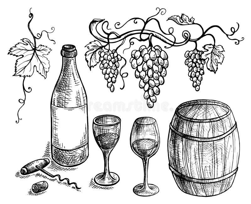 Sistema de uvas de la botella y del barril de vino stock de ilustración