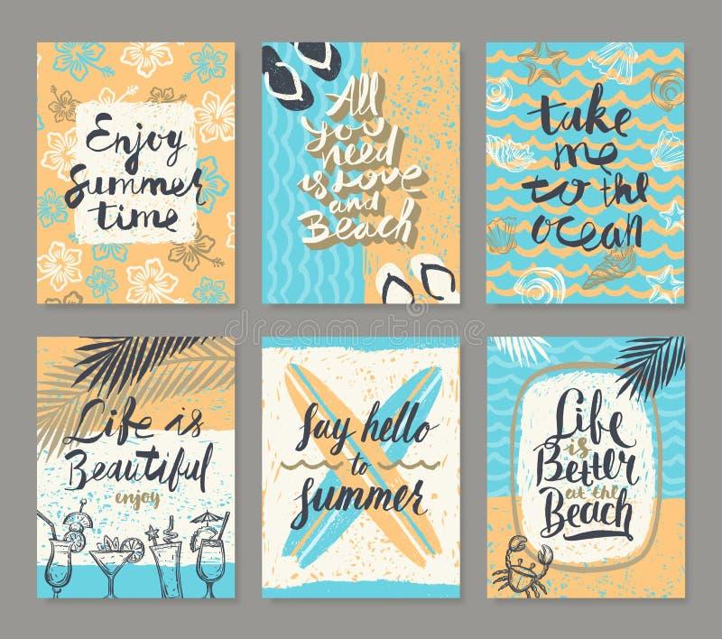 Sistema de vacaciones de verano y de los carteles de las vacaciones o de la tarjeta de felicitación tropicales stock de ilustración