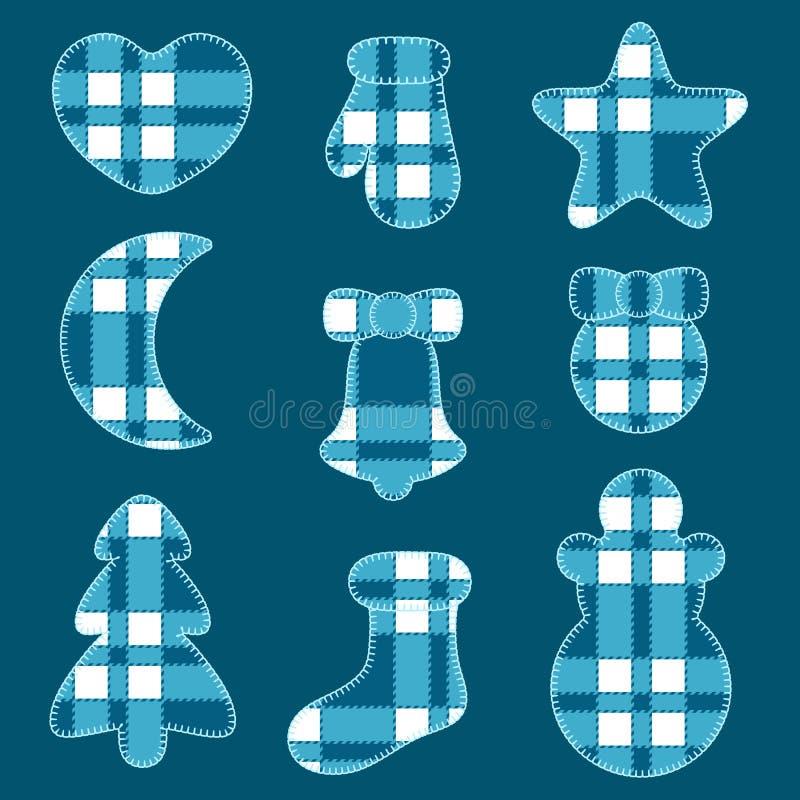 Sistema de vacaciones de invierno de la Navidad de los juguetes del fieltro de la tela azul del tartán Objetos aislados libre illustration