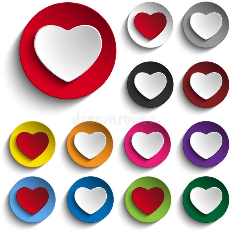 Sistema de Valentine Day Colorful Heart Button ilustración del vector