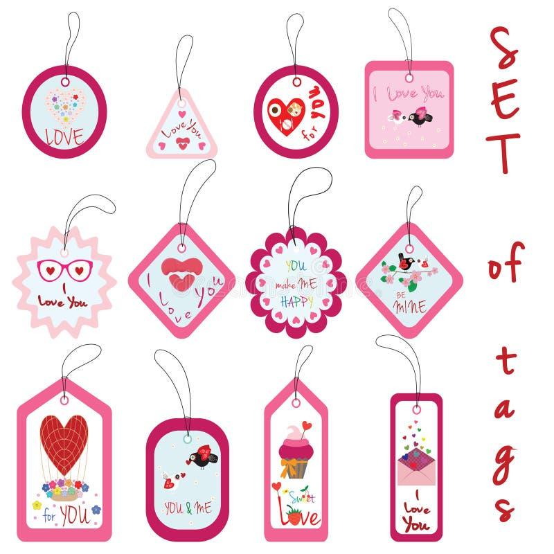 Sistema de Valentine Gift Tags con la magdalena, amor, flor, corazón, la Florida ilustración del vector