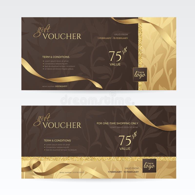 Sistema de vales de regalo de lujo con las cintas de oro y de estampados de flores en el fondo de color marrón oscuro stock de ilustración